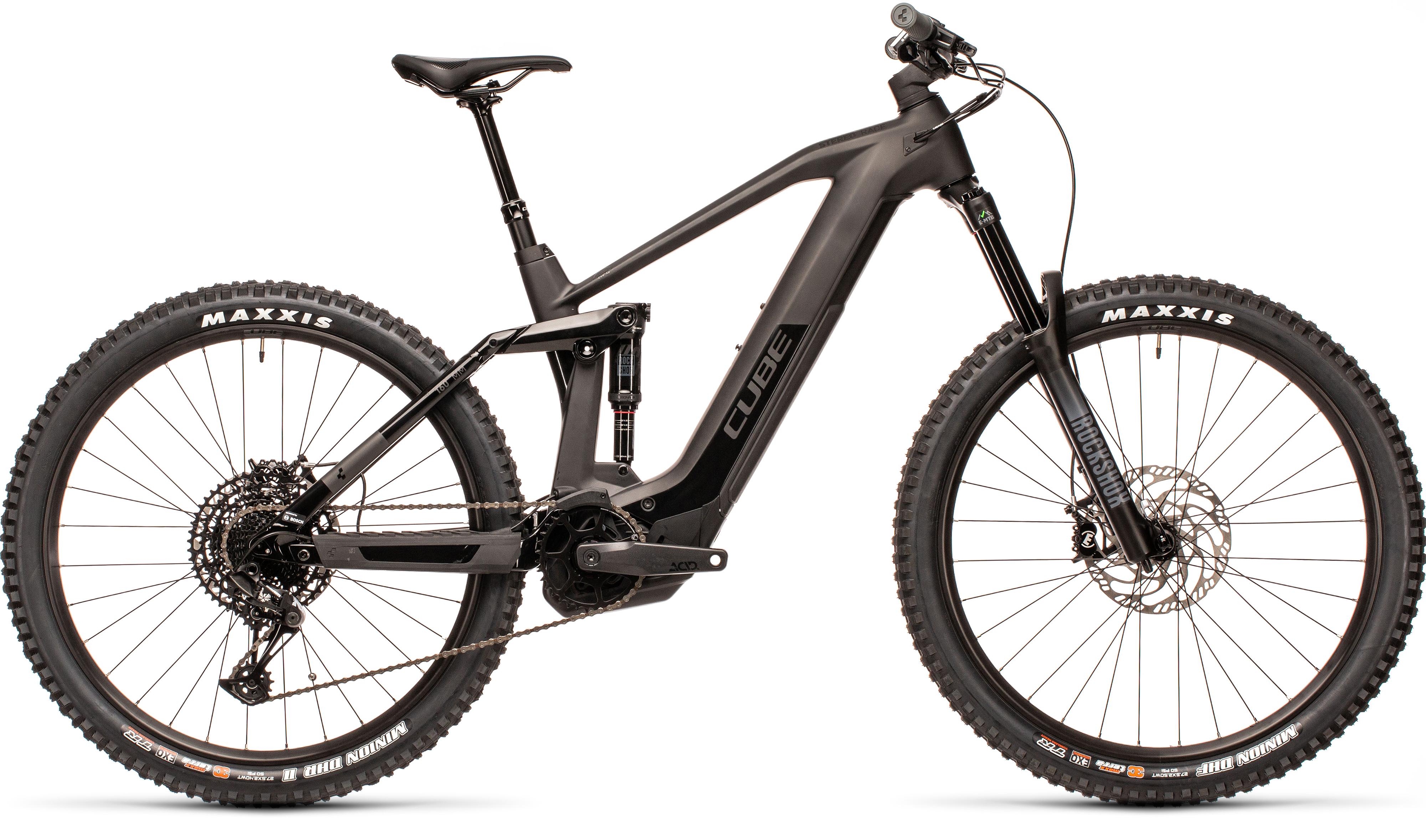 2021 Cube Stereo Hybrid 160 HPC Race 625 27.5 Electric Mountain Bike in Carbon/Black